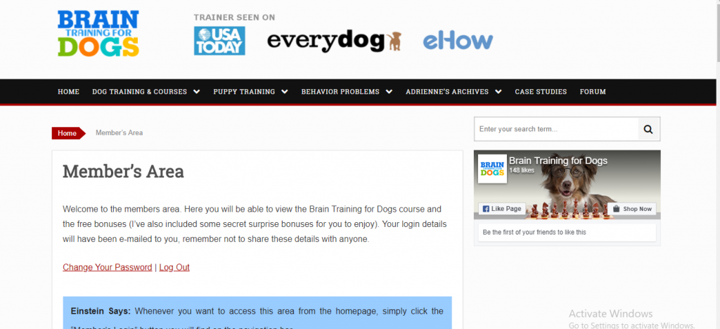 Brain Training 4 dogs members homepage