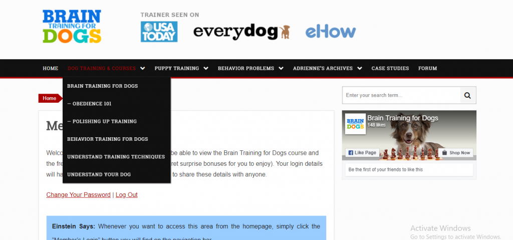 brain training for dogs members area