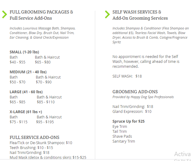 happy dog spa oakland prices